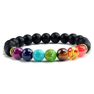 Image 2 - Браслеты и Обручи из натурального камня тигровые глаза 7 цветов, браслеты чакры, балансирующие бусины для йоги, молитвенный эластичный браслет Будды, мужские аксессуары