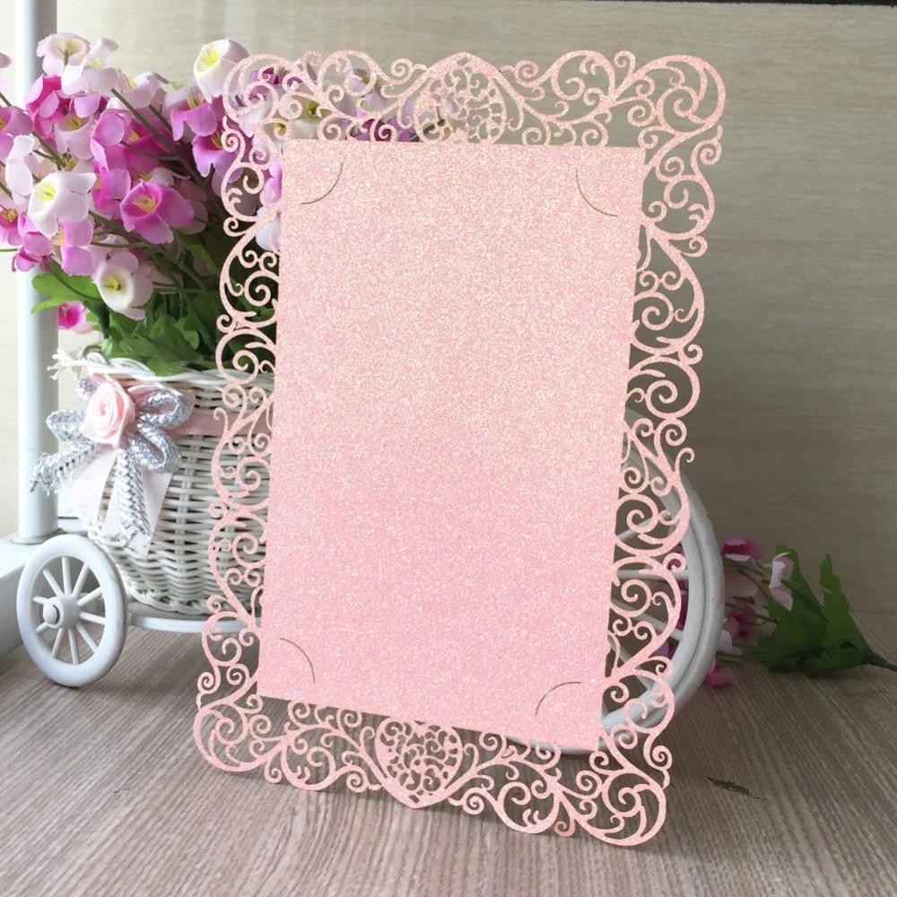 50pcs lot New Glitter Paper Shiny Paper Single Page Birthday Paty Wedding Invitation Cards Adult Ceremony