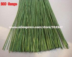 """Image 1 - Duży rabat!! 600 sztuk X 20 # miernik Floral macierzystych drutu 9.4 """"w zielony i biały"""