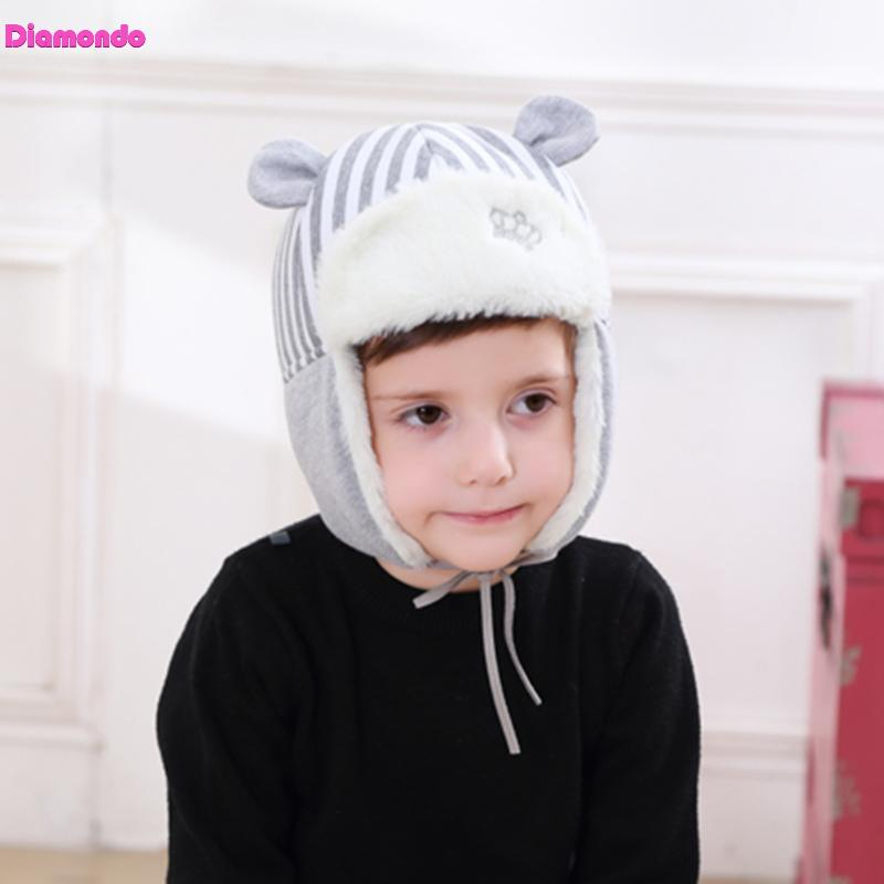 Autumn Winter Baby Hat Kids Striped Crown Print Beanies Cap Infant Baby Boys Girls Warm Hats Cute Ear Protection Children Caps