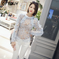OFTBUY Women Blouses 2017 New Spring Summer Flowers Embroidery Hollow Out Ruffles Lace Blusas Women Tops clothes Ropa Mujer