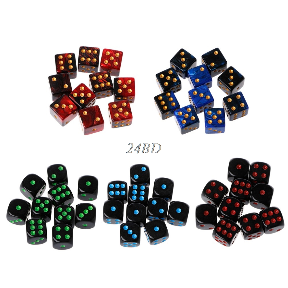 15mm Multicolor Acrylic Cube Dice Beads Six Sides Portable Table Games Toy A27