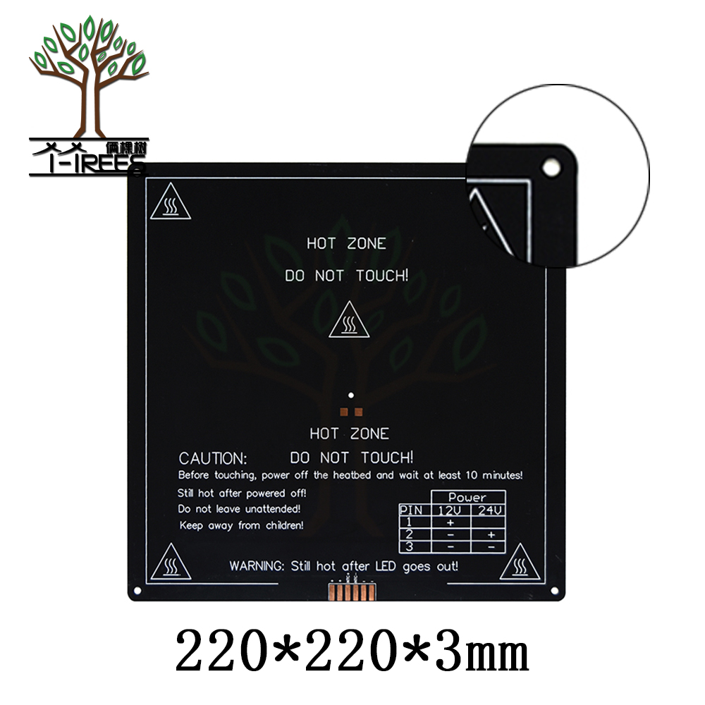 Updated, High Temperature 120 Degree 220*220*3mm 3D Printer Aluminum MK3 PCB HeatBed Dual Power Heat Bed Alu HotBed mk3 heated bed 12v 24v black parts heatbed hot hotbed 3d printers part heat 220x220 aluminum plate 3mm pcb accessories