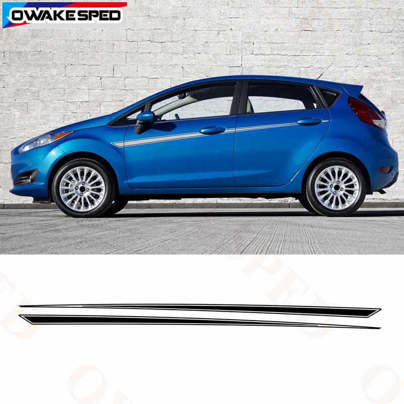 Racing Sport Stripes Car Waist Lines Decals For Ford Fiesta ST RS 2008-2018 3-5 Doors Side Decor Stickers Auto Body Accessories