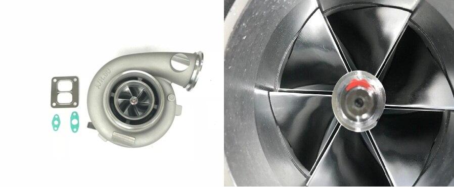 Trasporto di goccia GT4292-1 GT42 Aggiornamento Billet ruota del compressore AR.60 AR1.05 Olio 1000hp T4 twin scroll 6 bullone Turbo turbocompressore