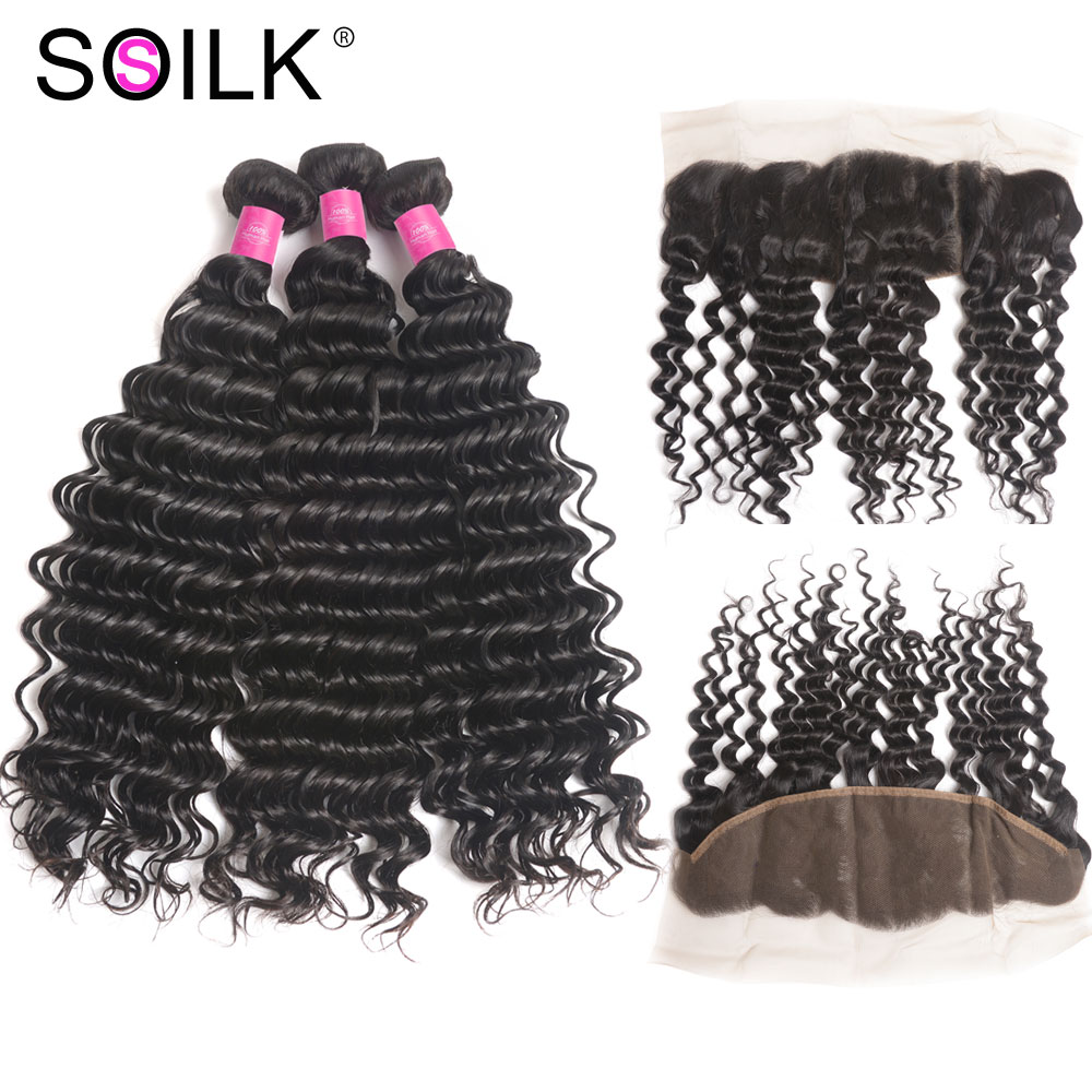 Peruvian Hair Deep Wave Bundles With Frontal So Silk 4Pcs/lot Free Part Remy Human Hair Lace Frontal Closure With Bundles