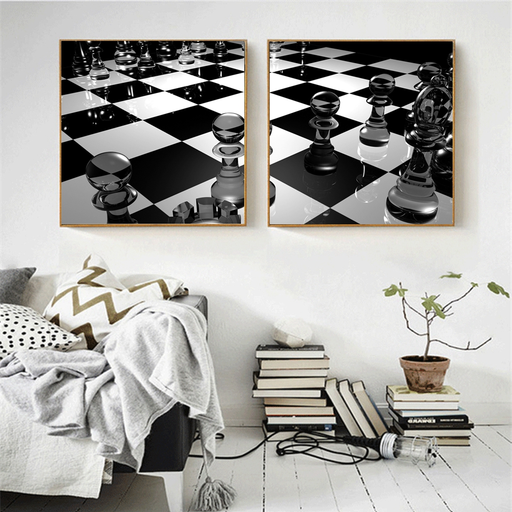 Black and White Lattice Crystal Chess Poster Wall Art Canvas Printed Chess Picture for Office Room Wall Decor Modern Home Decor
