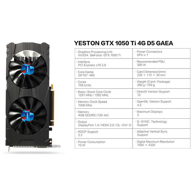 Yeston GeForce GTX 1050 Ti GPU 4GB GDDR5 128 bit Gaming Desktop computer PC support Video Graphics Cards PCI-E X16 3.0