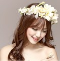 2016 New Women Wedding Rose Flower Wreath headband Kids Party Floral garlands Ribbon Adjustable flower crown Hair Accessories
