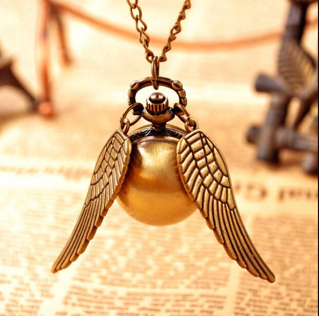Vintage Bronze Steampunk Harry potter Snitch ball pocket watch necklace children