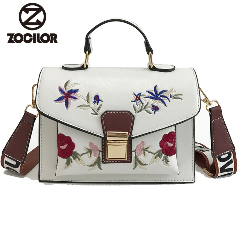 2018 embroidered PU Leather Women handbag high quality Women Messenger Bag Single Strap Shoulder Bag Ladies Crossbody Bags