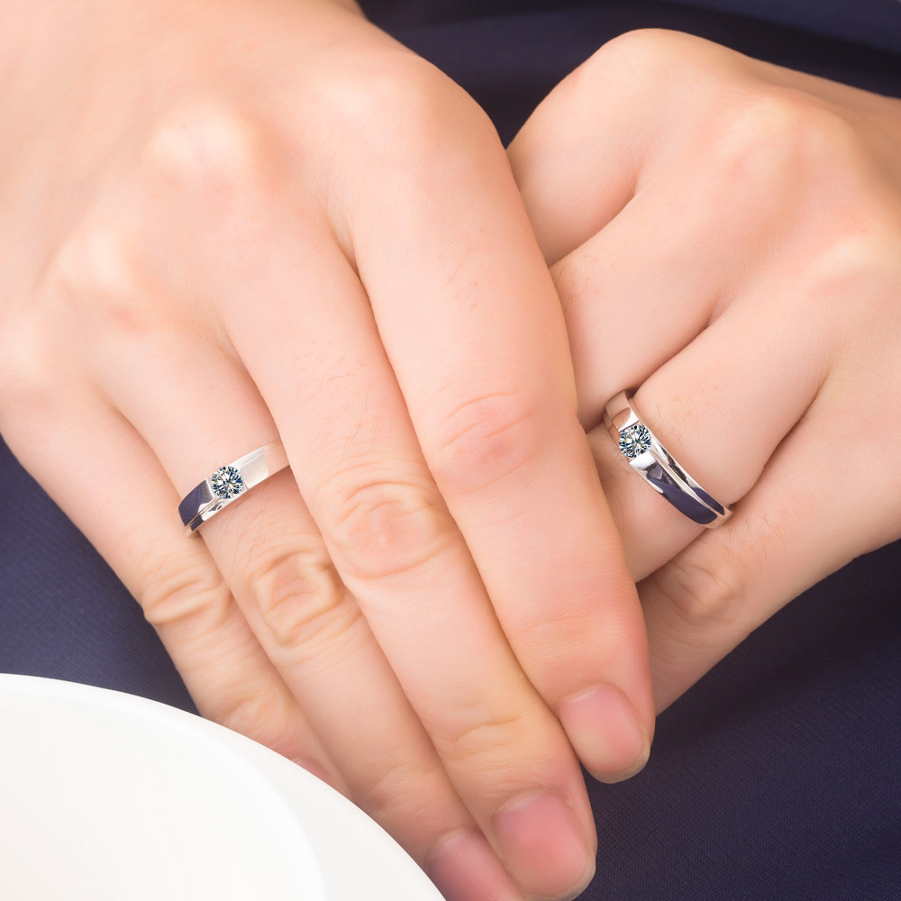 Perfectly Design Sterling Silver Ring For Couple Quality Synthetic