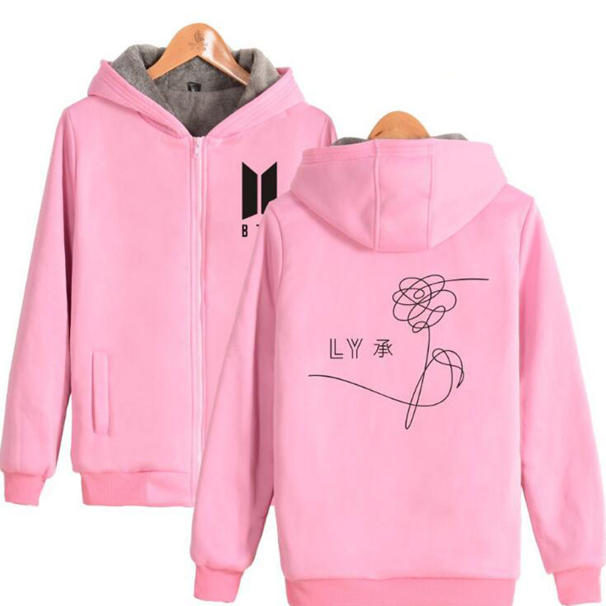 Winter Korean BTS KPOP Plus Velvet Zipper Coats women Warm Thicken Slim Fit Sporting Tracksuits Womens Hoodies And Sweatshirts