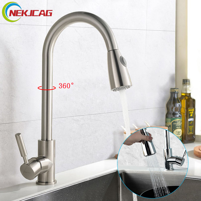 Kitchen Faucet Brushed Nickel Chrome Deck Mounted Sink Faucet Single Handle Pull Out Faucets e pak brand new concept pull out chrome single handle kitchen and bathroom sink faucet lj92359