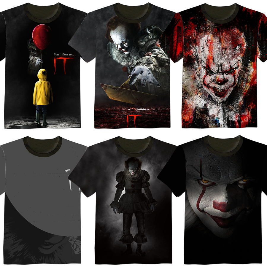 New Fashion Stephen King's It Horror Movie PennyWise Cotton T Shirt Cosplay High Quality 3D Printed Pennywise Clown T Shirt Top