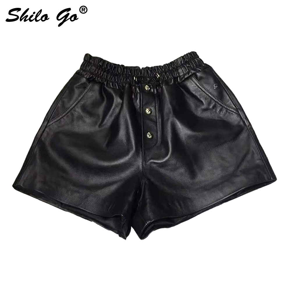 Casual Leather Shorts Women Summer Stretch High Waist Front Rivets Wide Leg Shorts Black Sheepskin Genuine Leather Hot Shorts