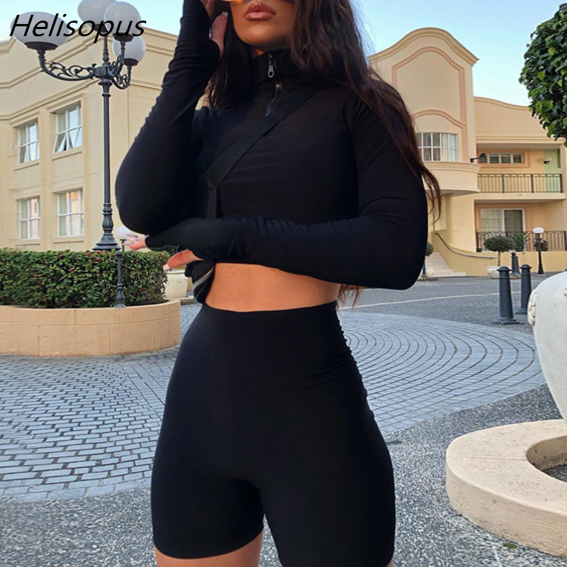 Helisopus Tracksuit Crop Tops Biker-Shorts Two-Piece-Set Stretch Long-Sleeve Zipper Sexy
