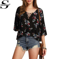 Sheinside Half Sleeve Lace Up Floral Print Tops Summer Style Vintage Woman Shirts New Arrival 2016