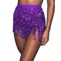Tassel fringe sequin women Summer style beach short Sequin Belly  Dancer Costume Tassel Wrap Skirt Club Mini Skirt 5