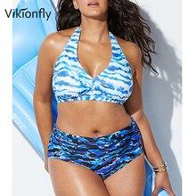 bfaa03e853 Vikionfly Plus Size Swimwear High Waist Swimsuit Women 2019 Printed Floral  Vintage Bikini large Size Bathing