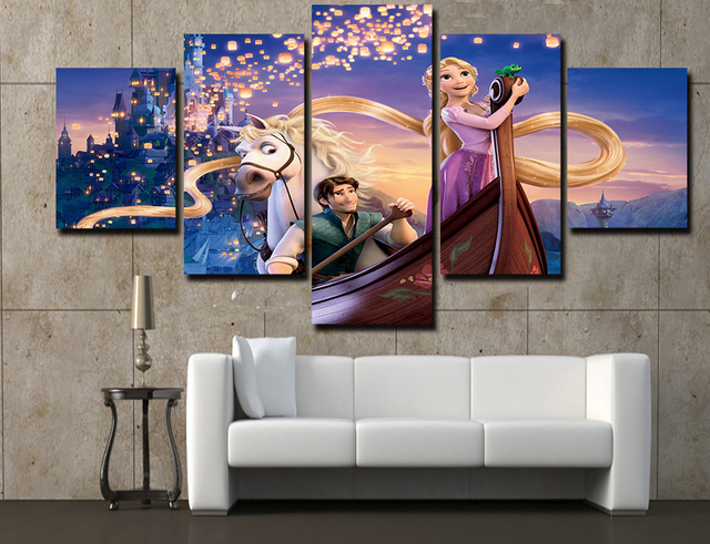 5 Piece Canvas Painting Hd Printed Tangled Rapunzel Flynn Art Home Decor For Living Room