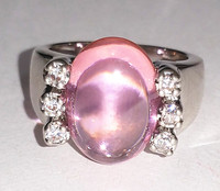 Sweet pink C.Z ring clear and smooth stone cute jewelery ALW1645