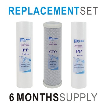 цена на 3 Stage Drinking Water Filtration Replacement Filter Set for - 3 Filters with Sediment PP 1um, Carbon Block, Sediment PP 5um