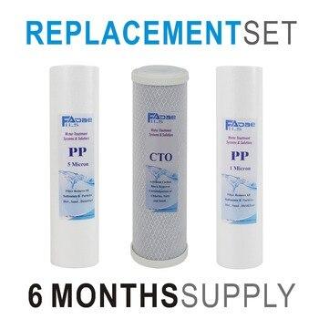 3 Stage Drinking Water Filtration Replacement Filter Set for - 3 Filters with Sediment PP 1um, Carbon Block, Sediment PP 5um klotz pp jj0030 3