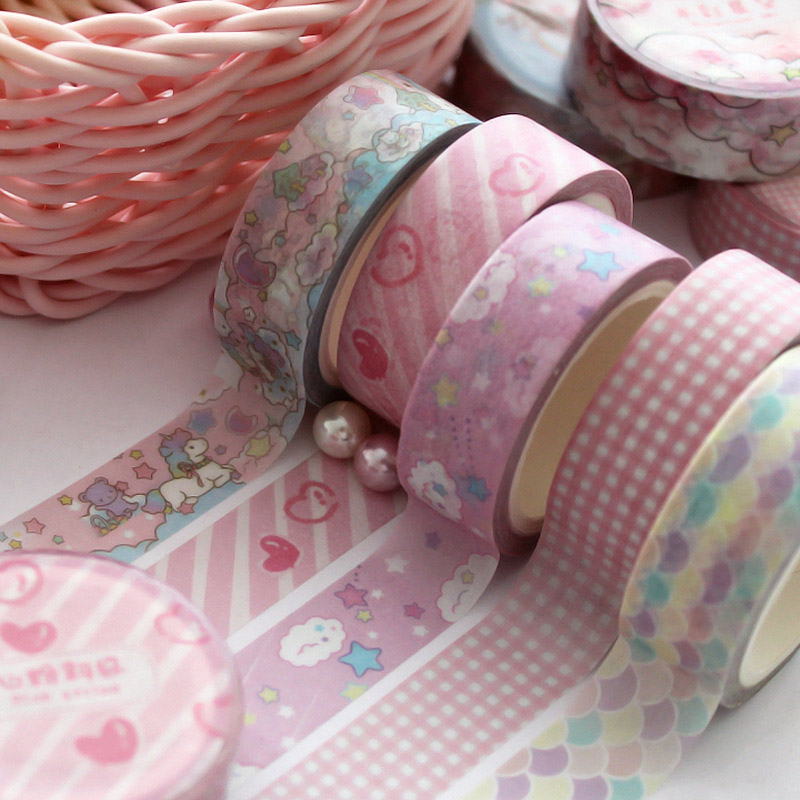 Cute Washi Tape Unicorn Pink Lovely Could Masking Tape Decorative Adhesive Tape Cute Stars Heart For Girls Decoration Papeterie
