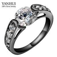 90 OFF Unique Christmas Gift Black Ring Hearts And Arrows 2 Carat CZ Diamond Engagement Ring