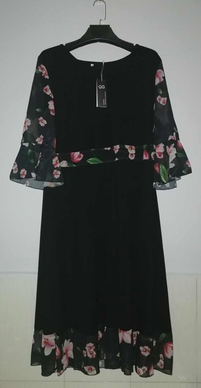 61349d11bf3 ... QMGOOD 2018 5XL жир мм платье Лето Элегантный печати шить Туника модная  женская одежда vestido платье
