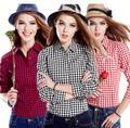 100% Algodão Clasical Design Manta Stripe Blusas Camisas das Mulheres Grade de Manga Comprida Camisas Para Mulher Ladies Casual Top Blusas