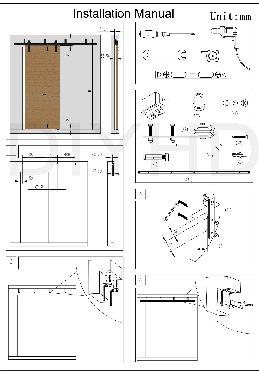DIYHD 5ft 8ft Ceiling Mount Black Sliding Barn Door Hardware Rustic Bracket In Doors From Home Improvement On Aliexpress