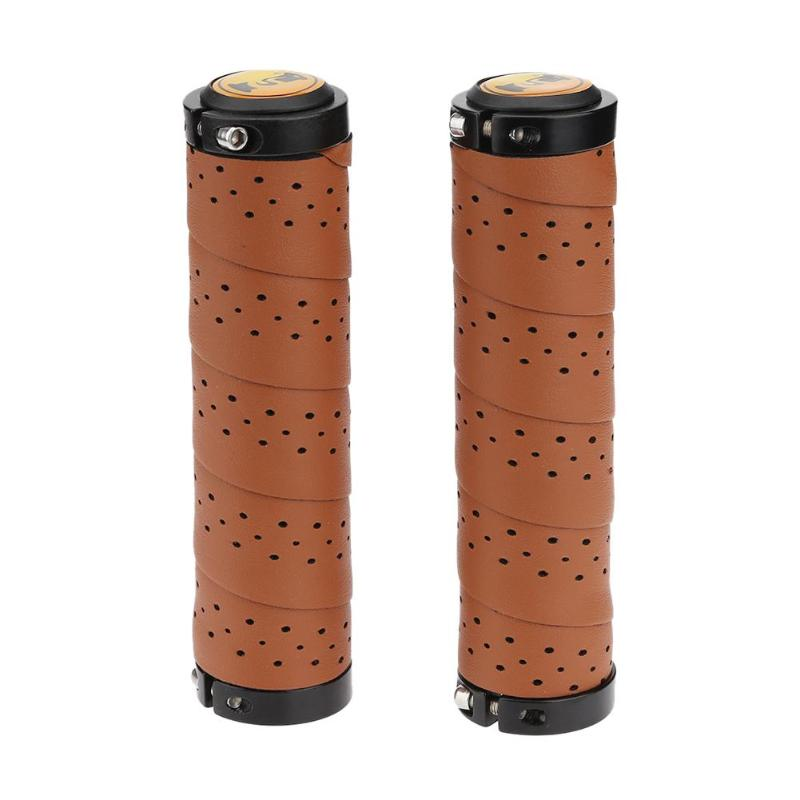 2pcs Vintage Bike Bicycle Leather Anti-skid Cycling Handlebar Cover Sleeve Grips With Breathable Hole Bicycle Grips MTB  Bike