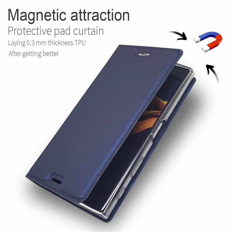 Deri flip cüzdan kılıf Sony Xperia XZ3 XZ1 XZ2 Z5 kompakt X XZ Premium XA XA1 artı XA2 Ultra L2 L1 manyetik stand kapak