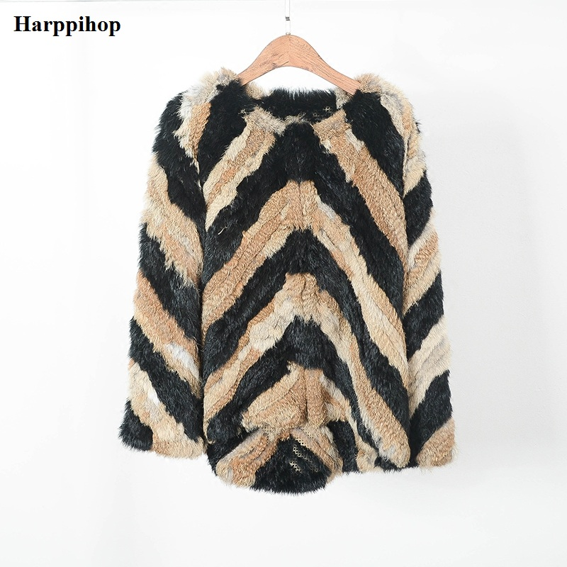 real rabbit fur jackets knitted Fur Outwear Made by two color stripe real fur coat fur