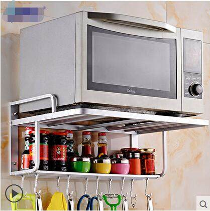 Space Aluminium Frame Wall Microwave Microwave Oven Shelf 2 Layer Support  To Receive The Rack Shelf In The Kitchen