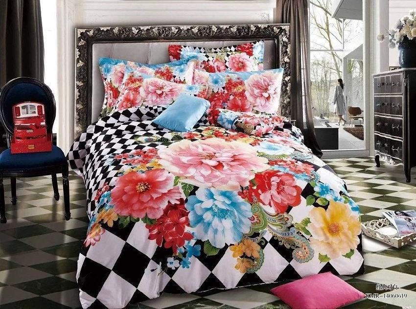 vintage rose flower floral 3d wedding bedding set queen size ... : black floral quilt - Adamdwight.com