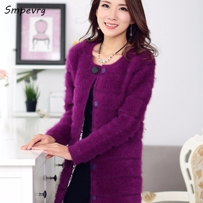 smpevrg new winter Female solid color long section Mink Cashmere Coat Cardigan Sweater fashion warm round neck knit Thick jacket