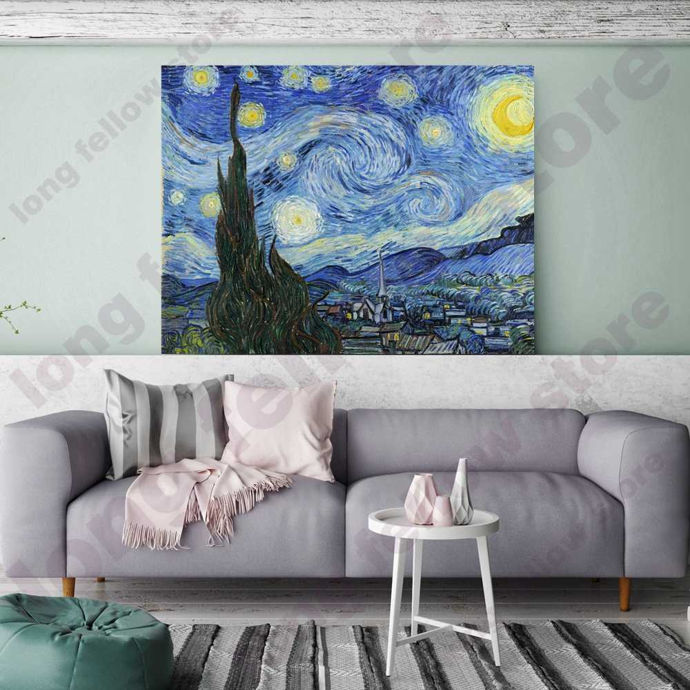 Canvas Painting By Numbers The Starry Night Vincent Van Gogh Coloring by Numbers Landscape Painting for Living Room Wall Decor