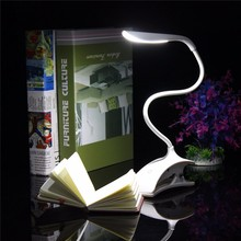 White ABS Flexible Dimmable USB Recharge Touch Sensor LED Clip-on Beside Book Reading Light Table Desk Lamp For Bed/Gift