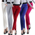 Women corduroy OL Pant stretch Trousers Casual Mid Waist Long Pencil Pants Plus Size