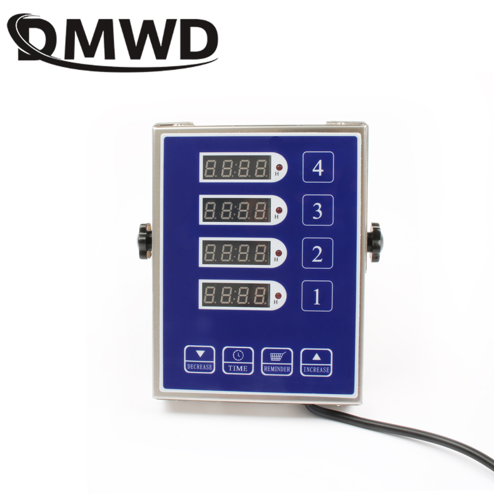 DMWD Stainless Steel Commercial Kitchen Four-channel Timer 4 Fourth Key Digital Button Timing Reminder Countdown Loud Alarm 110V