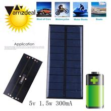 Amzdeal DC 5V 1.5W 300mA Epoxy Sunpower Solar Power Panel 15*6.9*0.3cm DIY Module Cell Charger Toy