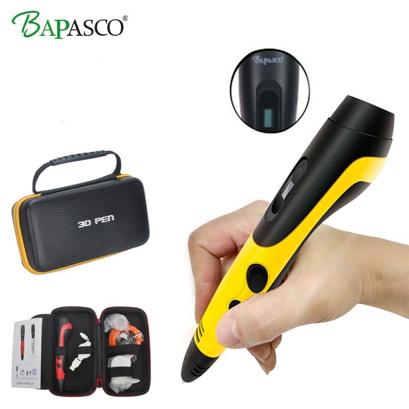 2018 Newest 3D Pen Original Bapasco BP-04 Gift Box Portable 3D Magic Pen USB Chager Kids' Best Education Tools 3D Doodler Pen 3D
