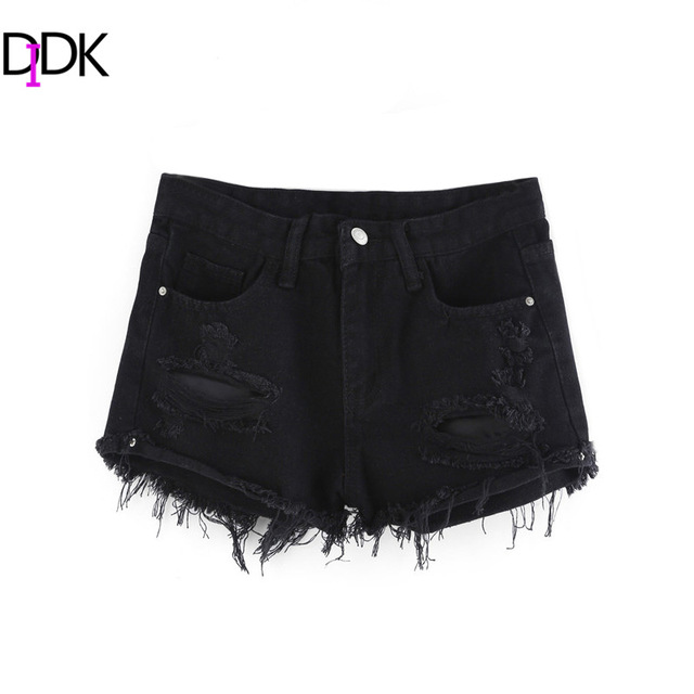 Aliexpress.com : Buy DIDK Women Frayed Black Denim Shorts New ...