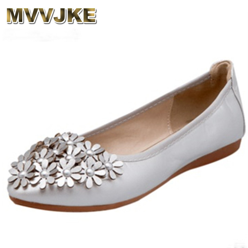 MVVJKE Ladies ballet flats shoes for dance soft sole pointy toe flower slip on women european and american style plus size 44 45 цена