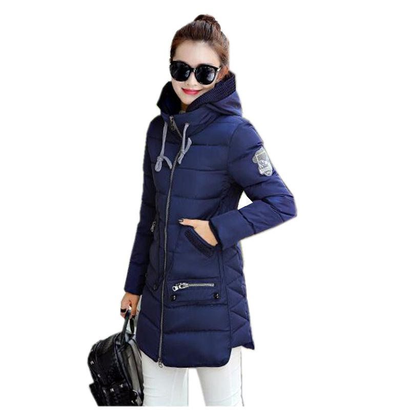 2017 New Winter Fashion Women Cotton-padded clothes Hooded Thickening Super warm Medium long Coat Loose Big yards jacket NZ411 2015 cotton padded elderly warm thickening long cotton padded jacket mens new single breasted wholesale zipper loose coat d10