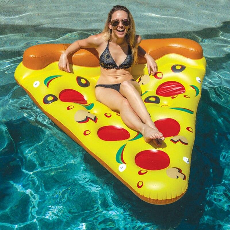 Tranche de Pizza gonflable piscine géante support de jouet d'eau Pizza géante jaune lit flottant radeau anneau de natation matelas pneumatique bateau