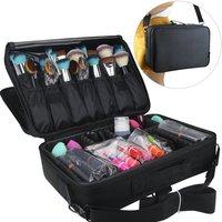 Cosmetic bag portable travel make up bag make up brush organiser bag with zip waterproof large wash bag for men and women black